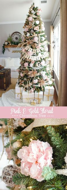christmas tree ideas flowers GORGEOUS Pink + Gold Floral Christmas Tree :: Love the peonies! Gold Christmas Tree, Christmas Tree Themes, Beautiful Christmas, Winter Christmas, Xmas Tree, Christmas Projects, Decorated Christmas Trees, Champagne Christmas Tree, Christmas Tree Flowers
