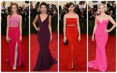 Cores fortes: Emma Stone, de Takoon NY, Selena Gomez, de Diane von Furstenberg, Anne Hathaway, de Calvin Klein, e Reese Witherspoon, de Stella McCartney.