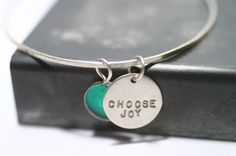 Silver Bangle Bracelet Personalized Bridesmaid gift by metalsgirl, $34.00