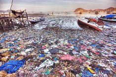 Plastic trash pollution on beach