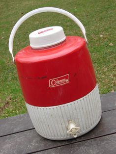 Vintage Red White Metal Plastic Coleman Camping Water Jug with cup