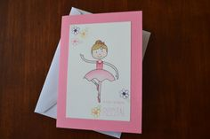 Dance Recital Card with Pink Ballerina by LilyRCreations on Etsy