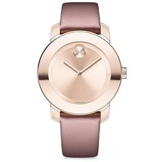 Movado Bold Pink IP Stainless Steel & Soft Rose Leather Strap Watch (€440) ❤ liked on Polyvore featuring jewelry, watches, dial watches, rose watches, movado watches, pink jewelry and rose jewelry