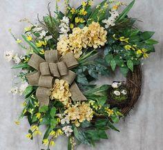 Silk Flower Wreath, Vine wreath, Hydrangea Wreath, Door Wreath, Wall Wreath, Wall Decor, Yellow Hydrangeas, Burlap Bow, Bird Nest, Greenery by SouthernCharmFlorals on Etsy