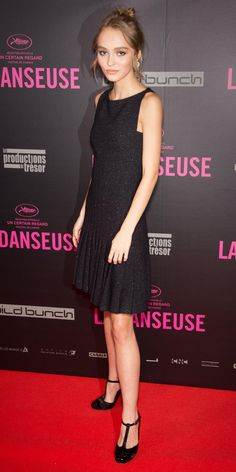 Lily-Rose Depp subtly shimmered at the La Danseuse premiere in a metallic-woven tweed LBD that she styled with diamond hoops and ladylike T-strap pumps.