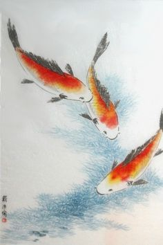 Koi Fish, Original Large Framed Chinese Brush Painting (28x38). $715.00, via Etsy.