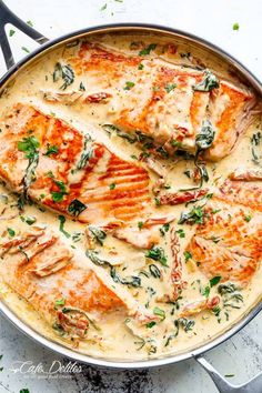 Creamy Garlic Butter Tuscan Salmon - Cafe Delites Delicious Salmon Recipes, Seared Salmon Recipes, Trout Recipes, Pan Seared Salmon, Seafood Recipes, Dinner Recipes, Cooking Recipes, Salmon Pasta Recipes, Cooking Ideas
