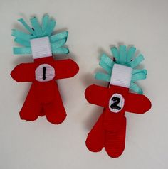 Things 1 or 2 Hairclips Ribbon Sculpture by TakeABowHandcrafts, $6.00