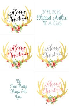 Christmas Gifts: Gold Leaf Antler Printable Tags - Free Pretty Things For You