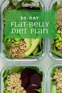 In addition to those research-backed flat-belly foods, this plan includes plenty of fiber and probiotic foods, like kefir and yogurt, that nourish your gut and help the good bacteria thrive. #mealplan #mealprep #healthymealplans #mealplanning #mealplanideas #healthyrecipes