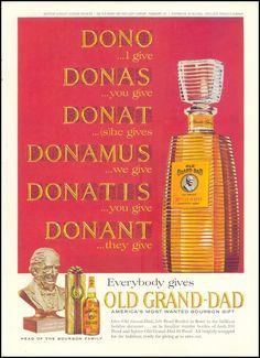 OLD GRAND-DAD BOURBON WHISKEY  TIME  12/06/1963  INSIDE BACK