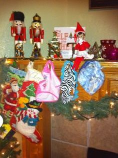 Elf on the Shelf - Elfy stole their stockings and hung their underwear!