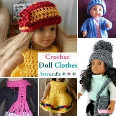 Find free crochet doll clothes patterns for a variety of sizes including 18 inch dolls in this collection.This cute and easy American Girl crochet scarf is great for any doll to bundle up for the cold weather. Crochet an easy scarf pattern for free doll a 12 Inch Doll Clothes, Boy Doll Clothes, Mom Clothes, Clothes Crafts, Barbie Clothes, Sewing Clothes, Crochet Doll Dress, Crochet Doll Clothes, Crochet For Kids