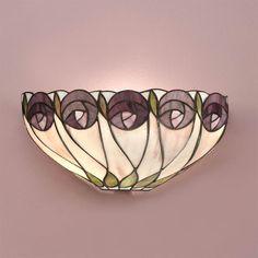 Applique Tiffany con Fiori Viola e foglie Verdi
