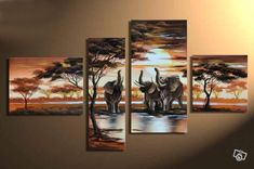 hand painted wall art Hill African elephants animals decoration abstract Landscape oil painting on canvas 4pcs/set mixorde-in Painting & Calligraphy from Home & Garden on Aliexpress.com