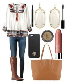 """""""GIRL MEETS WORLD"""" by emmacaseyyyy ❤ liked on Polyvore featuring AG Adriano Goldschmied, Kendra Scott, Tory Burch, Clinique, Topshop, NARS Cosmetics and Rouge Bunny Rouge"""