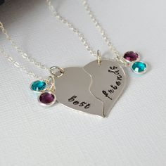 Hand-Stamped Best Friend Necklace Set- BFF Necklaces- Personalized Necklace Set