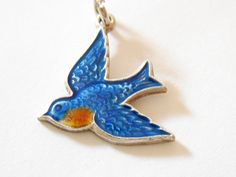 """My grandmother gave me a charm just like this when, as a little girl, I joined """"Blue Birds. I lost it!   Vintage Sterling Silver Blue Guilloche Enamel Bird Of Happiness Charm"""