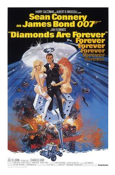 James Bond 007 - Diamonds Are Forever 1971 Movie Poster Stretched Art Canvas Choice of sizes available.