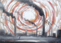 M P Elliott Nothern Artist oil painting entitled 'Industrial Sun' influenced by L S Lowry and Theodore Major and the landscapes of Manchester, Lancashire and other Northern towns. British Industrial Landscapes. http://the-northern-school-of-artists.weebly.com/m-p-elliott-artist.html