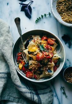 Rustic Pasta W/ Cheesy Chickpea Crumble & Heirloom Tomatoes