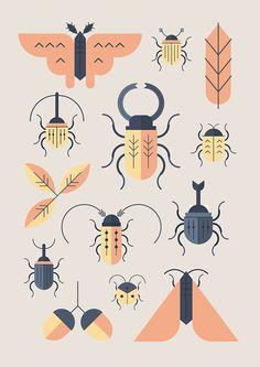 Alessio Sabbadini - Design Crush - Illustration - Alessio Sabbadini's flat graphic style is just my cup of tea. The Milan-based communication desig - Art And Illustration, Illustration Design Graphique, Pattern Illustration, Illustrations Posters, Animal Illustrations, Illustrations Vintage, Poster Festival, Motifs Animal, Insect Art