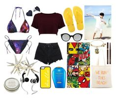 """Jungkook Beach"" by trixeypixey92 ❤ liked on Polyvore featuring T By Alexander Wang, Marvel, Havaianas, Zhuu, Shiseido, Illesteva, Tom Ford, CB2, CellPowerCases and Monster"