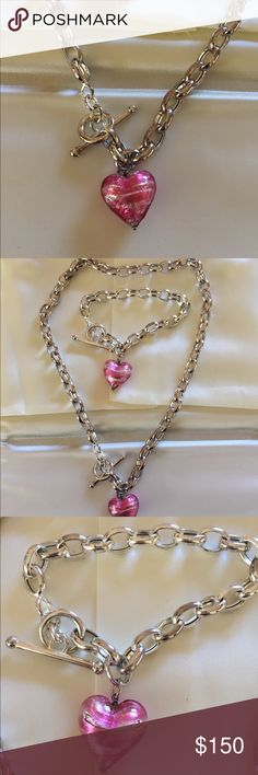"Kay Jewelers silver heart necklace bracelet set Made in Italy 925 silver necklace and bracelets chain set. Heart is made of blown pink and clear swirled glass with silver leaf inside. Gently used  Necklace length 17"" adjustable  Bracelet length 7.5"" adjustable  Heart size 2mmx2mm , 3/4""  Chain thickness 1/4""  With velvet case, light weight view more pictures on Ebay listing kay Jewelers Jewelry Necklaces"