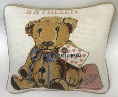Teddy Bear Needlepoint called All Yours. Canvas is by Sandra Gilmore who specializes in the heartfelt!