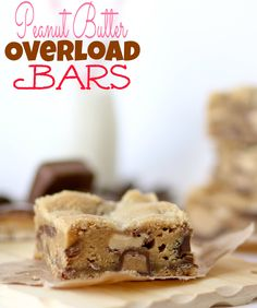 These thick and chewy Peanut Butter Overload bars are full of chocolate and peanut butter candy!!.
