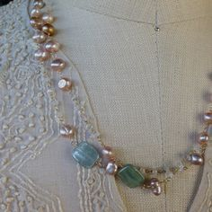 Pink Freshwater Pearls with Moonstone and Kyanite with by AUREATA