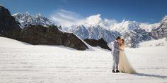 Stunning post wedding photos on an Alaskan glacier taken by Mark Gvazdinskas.