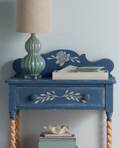 """Say """"Night night"""" to boring bedside tables. Give yours an antique feel by using vintage decor paint from Martha Stewart Crafts."""