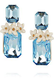 Roberto Cavalli Swarovski crystal clip earrings