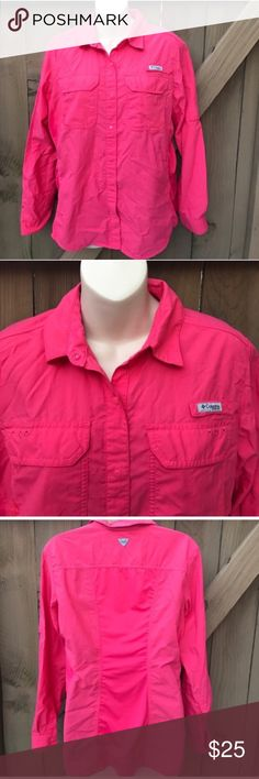 Size L Columbia PFG coral button down shirt Size L Columbia PFG coral button down shirt Columbia Tops Button Down Shirts