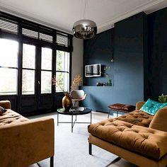 Dark Living Rooms, Living Room Interior, Living Room Decor, Industrial Home Design, Dark Interiors, Cool Apartments, Cool Rooms, Interior Design Inspiration, New Homes