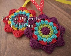 Crochet Christmas STAR Ornament Pattern Crochet by Liloumariposa
