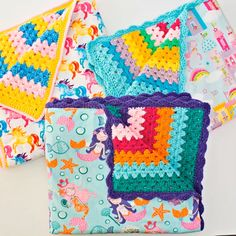 Handmade Fabric Reversible Crochet Blankets for Kids. These make gorgeous baby shower gifts or unique birthday gifts for kids! They come in unicorn, mermaid, dinosaur and car blanket fabrics. for kids Fabric Reversible Crochet Blankets Crochet For Beginners Blanket, Crochet Blanket Patterns, Baby Blanket Crochet, Knitting Patterns, Crocheted Baby Blankets, Crochet Quilt Pattern, Baby Afghan Patterns, Knitting Ideas, Crochet Mermaid Tail