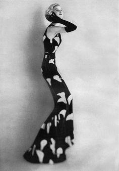 Traina-Norell dress 1957, photo by Karen Radkai (model could be Sunny Harnett) ~ETS #blackandwhite
