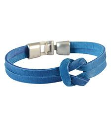 Buy Men  Leather Bracelet Blue color for Everyday wear Bracelet online
