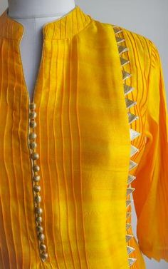 Kurta neck design - Yellow Tussar Kurta with Wine Organza Handwork Dupatta Kurti Sleeves Design, Sleeves Designs For Dresses, Neck Designs For Suits, Dress Neck Designs, Sleeve Designs, Neckline Designs, Blouse Designs, Salwar Neck Designs, Kurta Neck Design