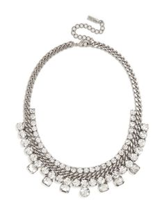 Indulge your inner diva with this stunning statement necklace. Crafted from a glistening chain, surround by three tiers of oversized crystals, the look is pure polish.
