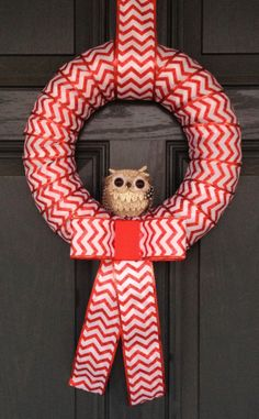 Owl Christmas Wreath with Red & White Chevron by BurlapandChevron, $25.00