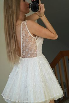 Simple-dress Pretty Short White Lace Short Homecoming Dresses/Cocktail Dresses HCS0013 | BGCP