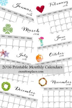 2016 Printable Monthly Calendars | Free Instant Download! | Includes each month, year at a  glance and inspirational printable.