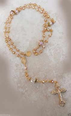 Genuine Swarovski Pink Champagne AB Crystal Sacred Heart St Patrick Gold Rosary