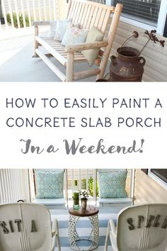 Add personality to a concrete slab porch with painted stripes