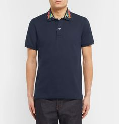 2c27f171d6cd81 Gucci - Slim-Fit Embroidered Stretch-Cotton Piqué Polo Shirt Polo-t-