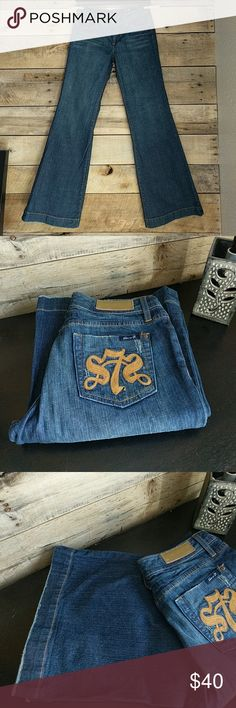 """7 For All Mankind Jeans WIDE leg jeans with 34"""" inseam and 13"""" flare opening. EUC 7 For All Mankind Jeans Flare & Wide Leg"""