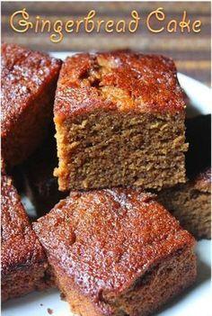 YUMMY TUMMY: Super Moist Gingerbread Cake Recipe - Gingerbread Snacking Cake Recipe -- Mmmm serve warm with vanilla ice cream. Köstliche Desserts, Delicious Desserts, Dessert Recipes, Recipes Dinner, Yummy Snacks, Snack Recipes, Moist Cake Recipes, Cake Recipes With Oil, Spice Cake Recipes